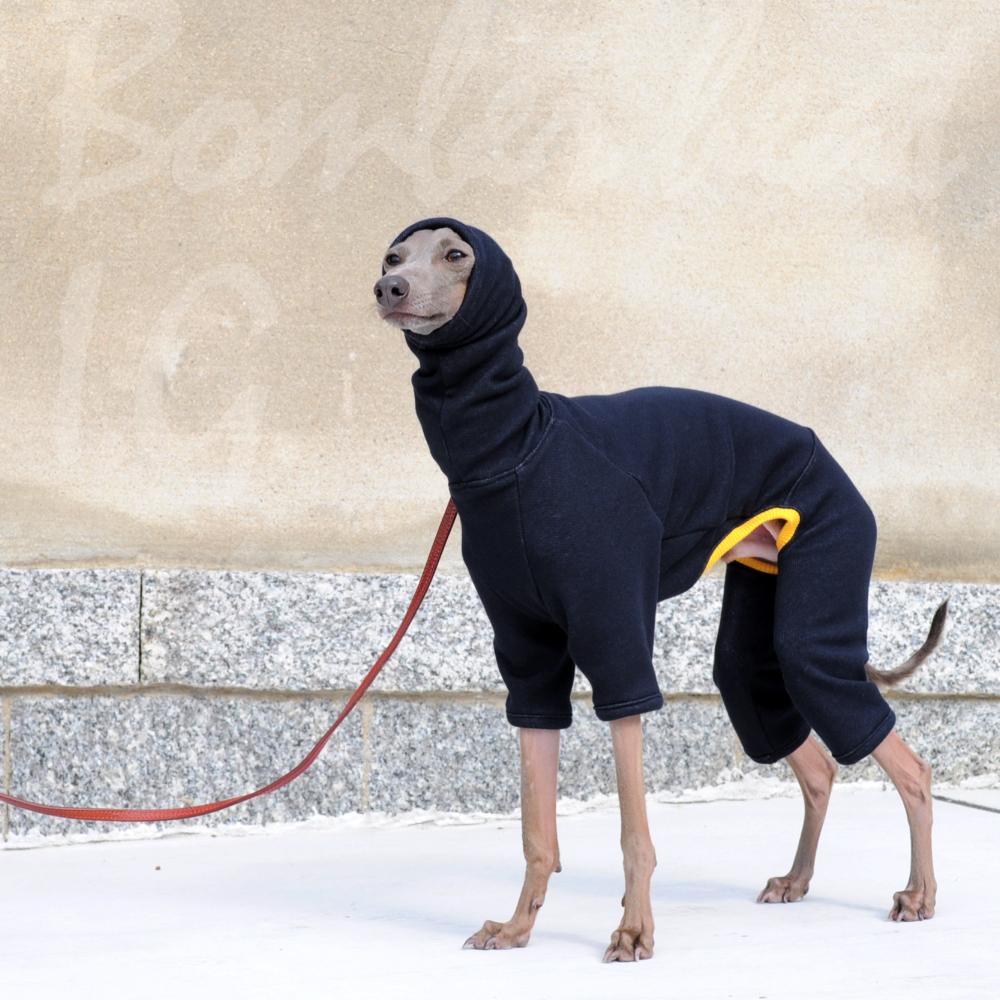 毛布に包まれたような暖かさと、優しい肌さわりが特長のボンバーヒート生地を使ったイタグレ服「ロンパース」