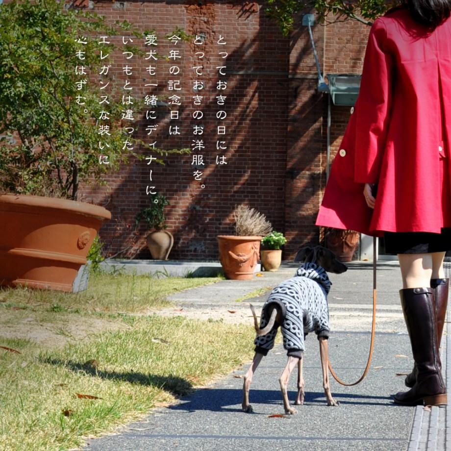 「愛犬と過ごす上質な休日」とっておきの日にはとっておきのお洋服を。いつもとは違ったエレガンスな装いに心もはずむ。