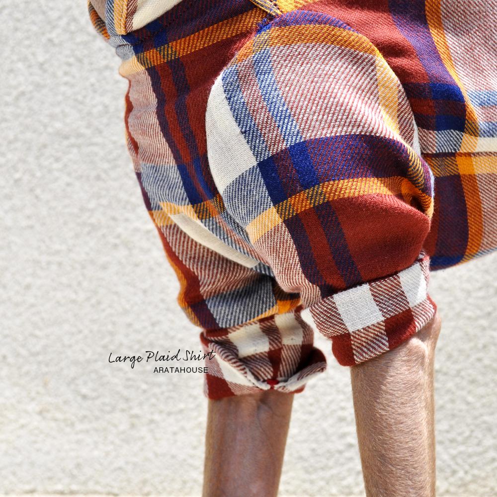 犬服 ラージチェックシャツ 日本製コットンダブルガーゼ 選べる3タイプ×2カラー(ブラウン×オレンジ/ブラック×レッド)