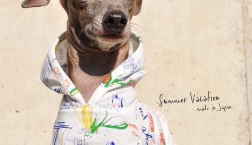犬服 Summer Vacation 上質な日本製強撚天竺ニットプリント 選べる4タイプ×2カラー(ブルー文字/ブラック文字)