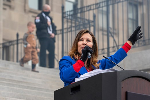 In this photo from March 6, 2021, Idaho Lieutenant Governor Janice McGeachin speaks during a mask burning event at the Idaho Statehouse in Boise, Idaho. (Nathan Howard/Getty Images/TNS)