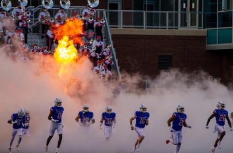 Broncos rush the field at the BSU vs. UTEP home opener game, 2021 season.