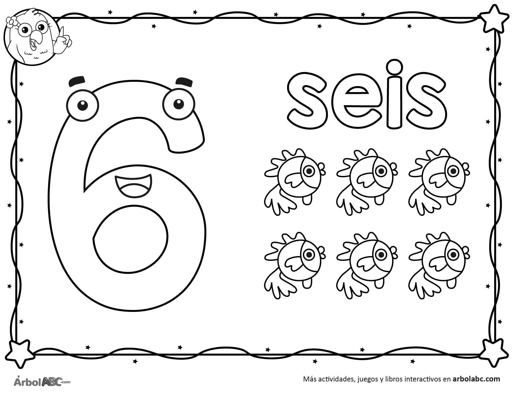Seis Objetos Para Colorear Numero 6 Dibujos Para Colorearimprimir Dibujo Del Numero 6 Para