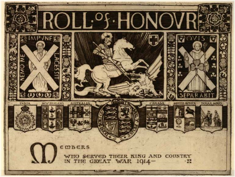 Design for a roll of honour for the first World War (1917), by James Hamilton MacKenzie.