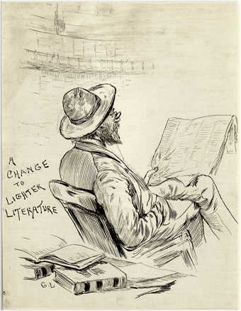 """A man reading a newspaper, with the caption, """"A change to lighter literature;"""" to illustrate the December 24th 1844 transcripts from The Armagh Guardian."""