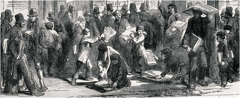 Wood engraving of young boys hand out newspapers to waiting crowds. Illustration for Index: Armagh Guardian, 1844-1845.