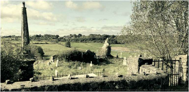 Old Kilcolman churchyard near Claremorris in county Mayo, where many of our Burke ancestors lie buried. Photograph copyright to Alison Kilpatrick.
