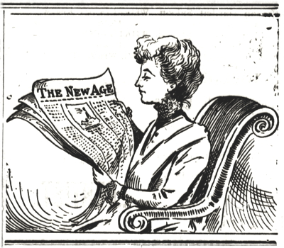 """Illustration for this page, """"January 7th 1845: Transcripts from the Armagh Guardian,"""" featuring a drawing of a woman reading """"The New Age"""" newspaper, published in Eugene, Oregon, USA, 29th June 1901."""