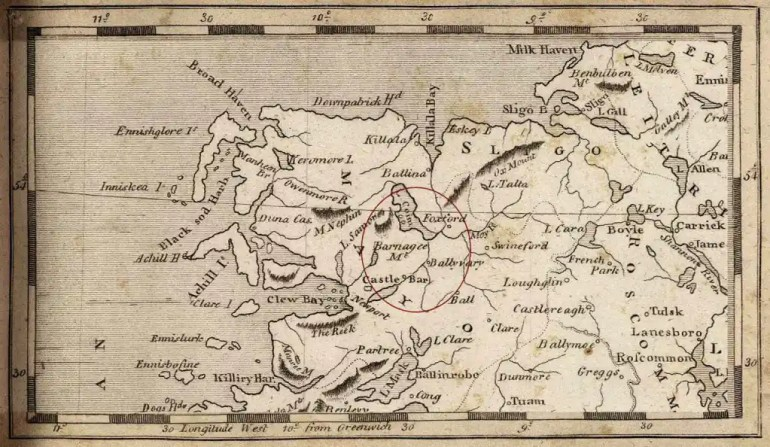 Map of county Mayo, drawn by Aaron Arrowsmith in 1804; highlighting the location of Castlebar and Foxford districts, in which region Mary McDonnell is thought to have been born.