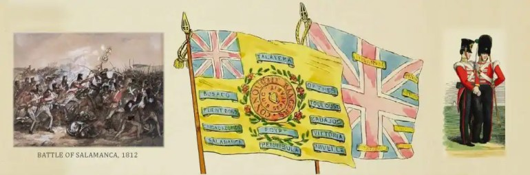 """Panel of images to illustrate the page entitled, """"Burkes of Claremorris & environs in the British Army,"""" includes: a small version of a painting of the Battle of Salamanca in 1812, the colours of the 88th Regiment of Foot, also known as the Connaught Rangers, and two 88th Foot soldiers in uniform."""