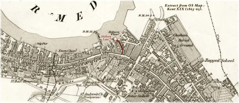Extract from Ordnance Survey Map, drawn between 1863–1865, of that neighbourhood or section of Chatham, Kent near Holborn Wharf, and highlighting Holborn Lane where Mary Burke née McDonnell lived with her family in 1838.