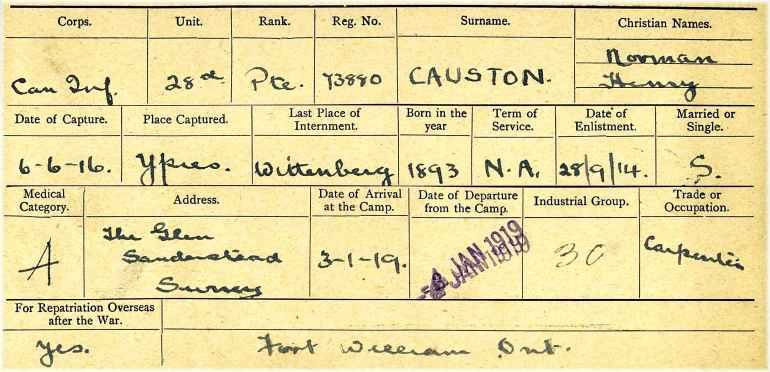"Card from the Canadian Expeditionary Force personnel file for Private Henry Norman Causton of the 28th (Northwest) Battalion; used to illustrate the page, ""Transcripts from military service records."""