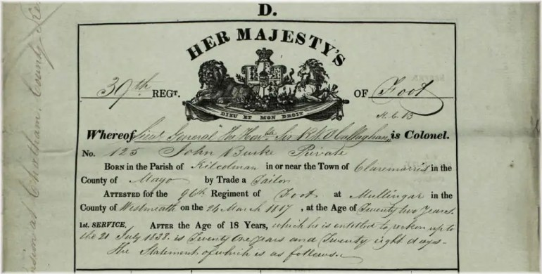 "Top of Attestation form for John Burke (1795–1839) of Claremorris, county Mayo; to illustrate this page entitled, ""Transcripts from British Army service records."""