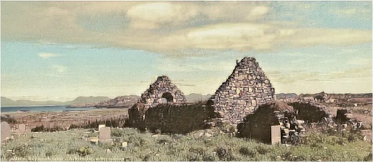 Ruins of a 13th century church, named for Saint Colmán of Inishbofin.