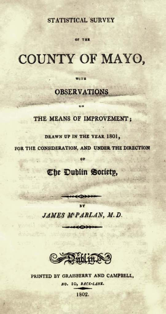 Cover page from James M'Parlan's survey of the county Mayo, published in 1802. This book included references to the various baronies, including Clanmorris.