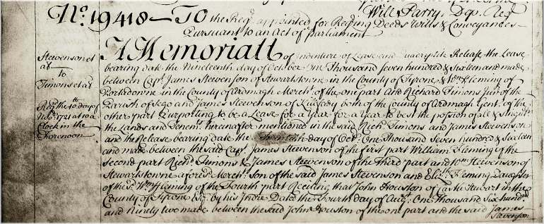 Title and opening paragraphs of memorial 31-342-19418, Stevenson to Timons, a marriage settlement dated 19 October 1716.