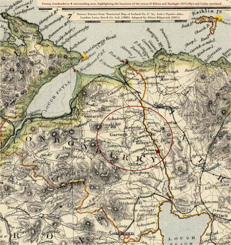 Map (1883) by Letts & Co., of Ireland no. 2, featuring county Londonderry, and highlighting the locations of the towns of Kilrea and Tamlaght, and of Lislea townland.