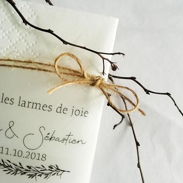 mouchoirs mariage thème Brindilles