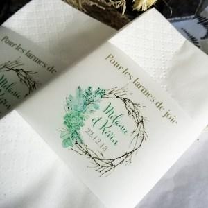 mouchoirs mariage thème succulentes