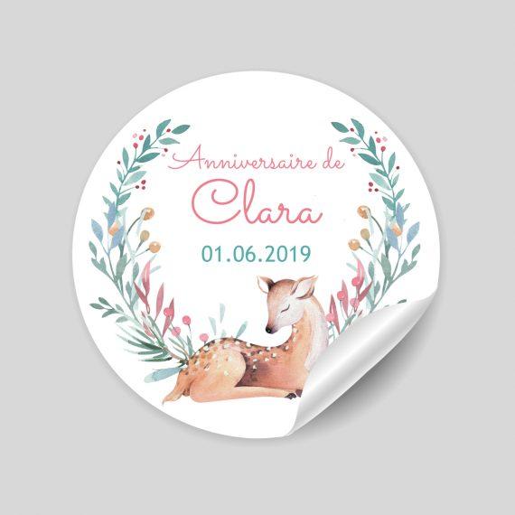 "24 stickers thème ""Ida la biche"" à personnaliser"