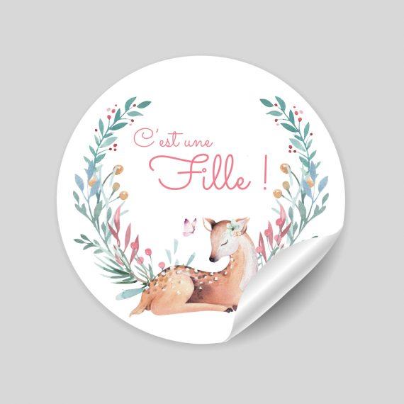 """24 stickers thème """"Ida la Biche"""" : naissance"""