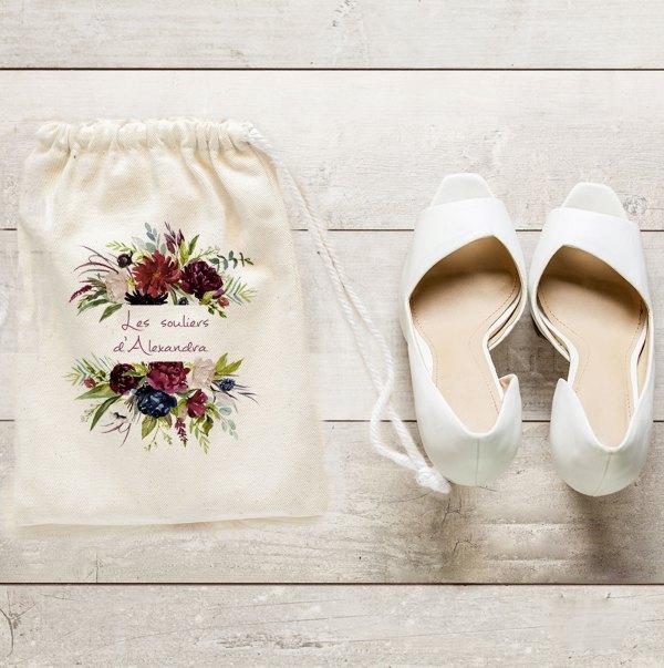 Sac à chaussures collection Rouge Pivoine - Arborescence