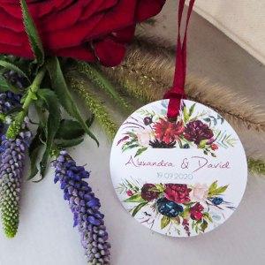 étiquettes mariage Rouge Pivoine