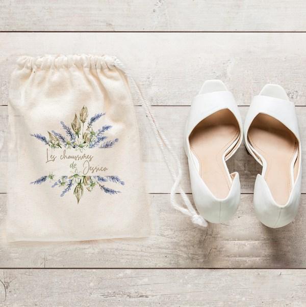 Sac à chaussures mariage Lavande