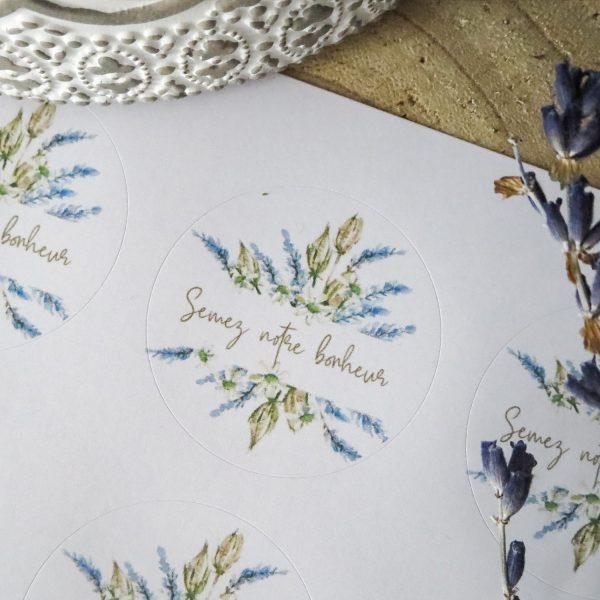 stickers mariage Lavande Semez notre bonheur