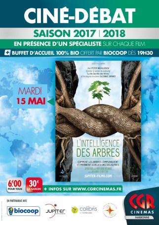 Affiche intelligence des arbres le 15 mai au CGR Narbonne
