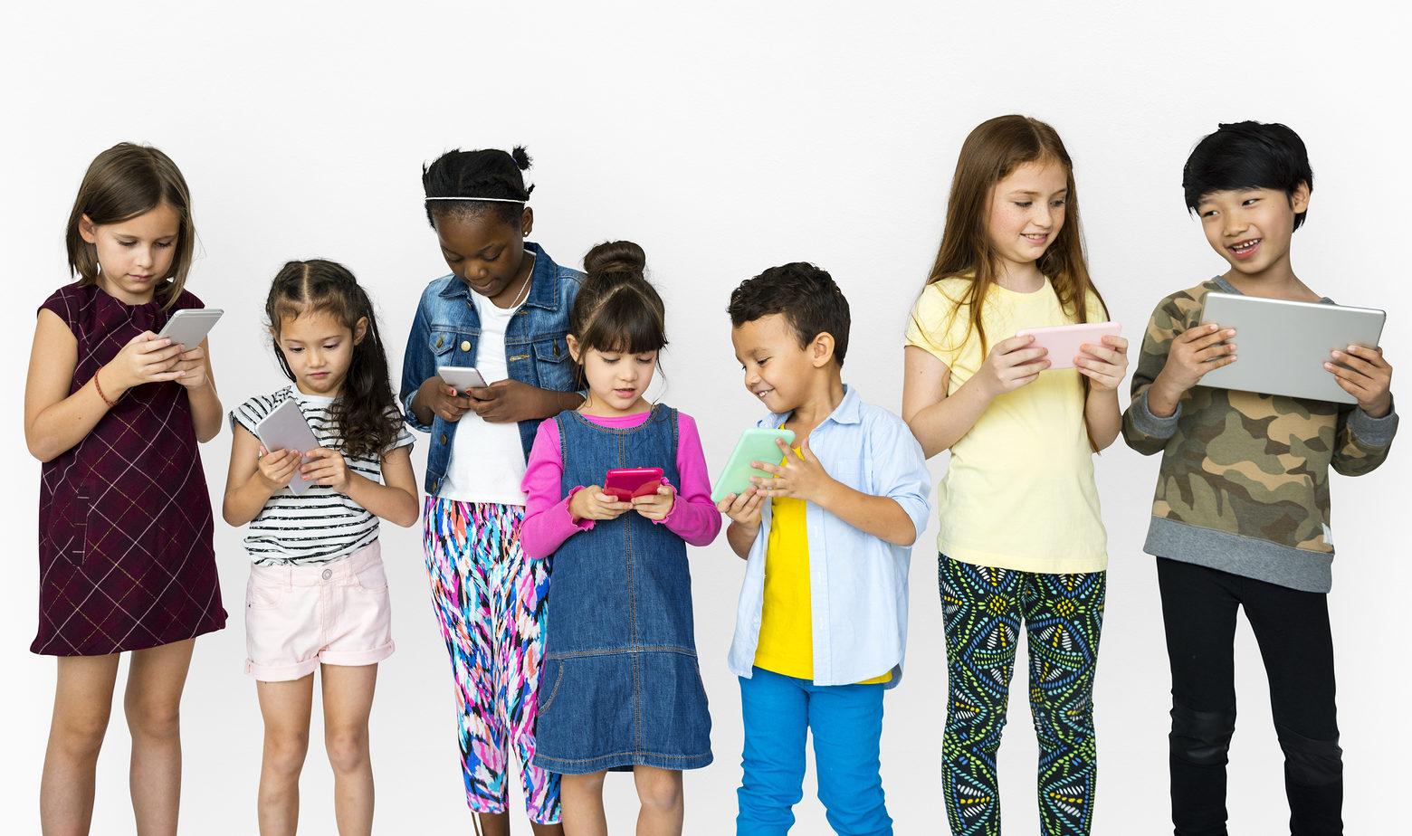Group of Kids Using Digital Devices