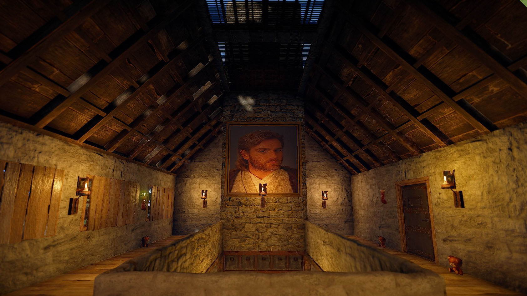 Screenshot from the game Rust, depicting the interior of a church.