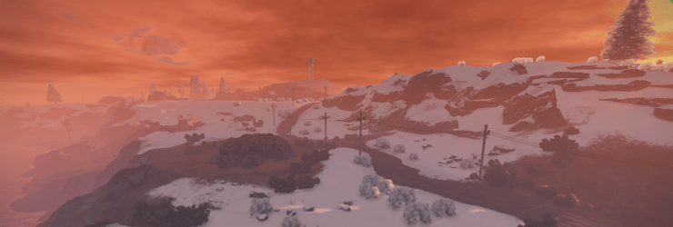screenshot of the game Rust depicting a snowy landscape and a red tinged sky.