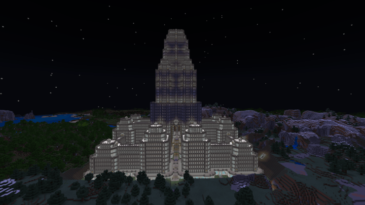 Screenshot from Minecraft, showing a large gray stone tower complex.