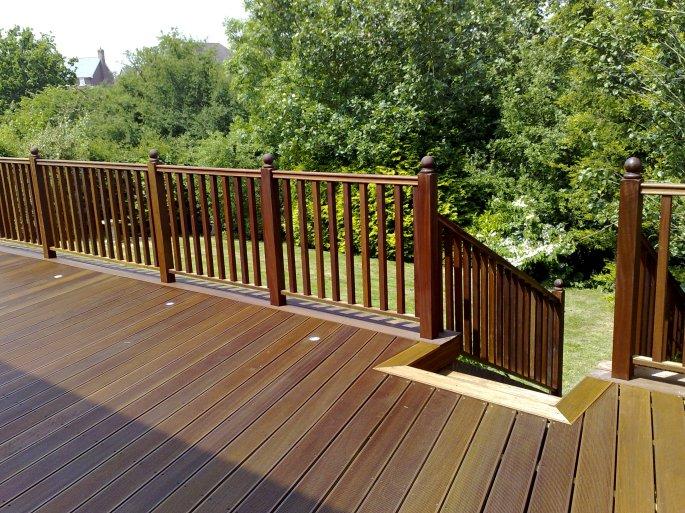 Balau hardwood decking with custom built steps and balustrades