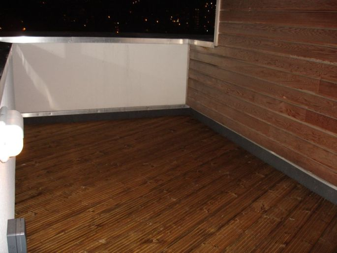 Roof terrace deck build with softwood