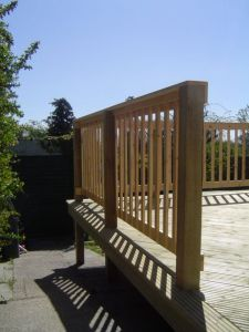 Softwood decking handrail, Shoreham, Sussex