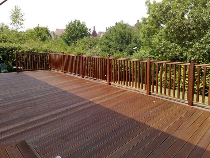 Handrails on a hardwood deck