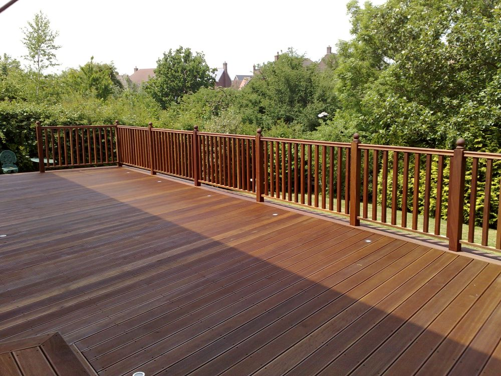 Handrails on a hardwood deck