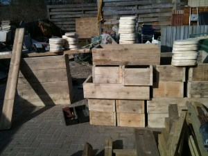 Recycled timber planters stacked up ready for delivery to a primary school in Sussex