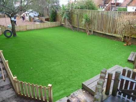 Artificial turf fitted to a nursery in Hove, Brighton
