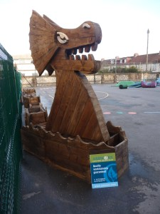 Sea serpant built entirely from recycled timber