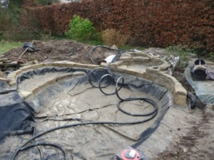 filters and fitting being installed to the pond