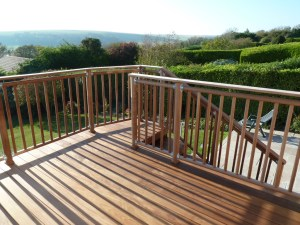 ipe hardwood decking with iroko high level handrail system