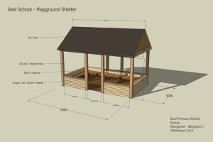 Playground shelter for schools, offices, work areas