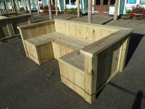 Sturdy softwood timber seat