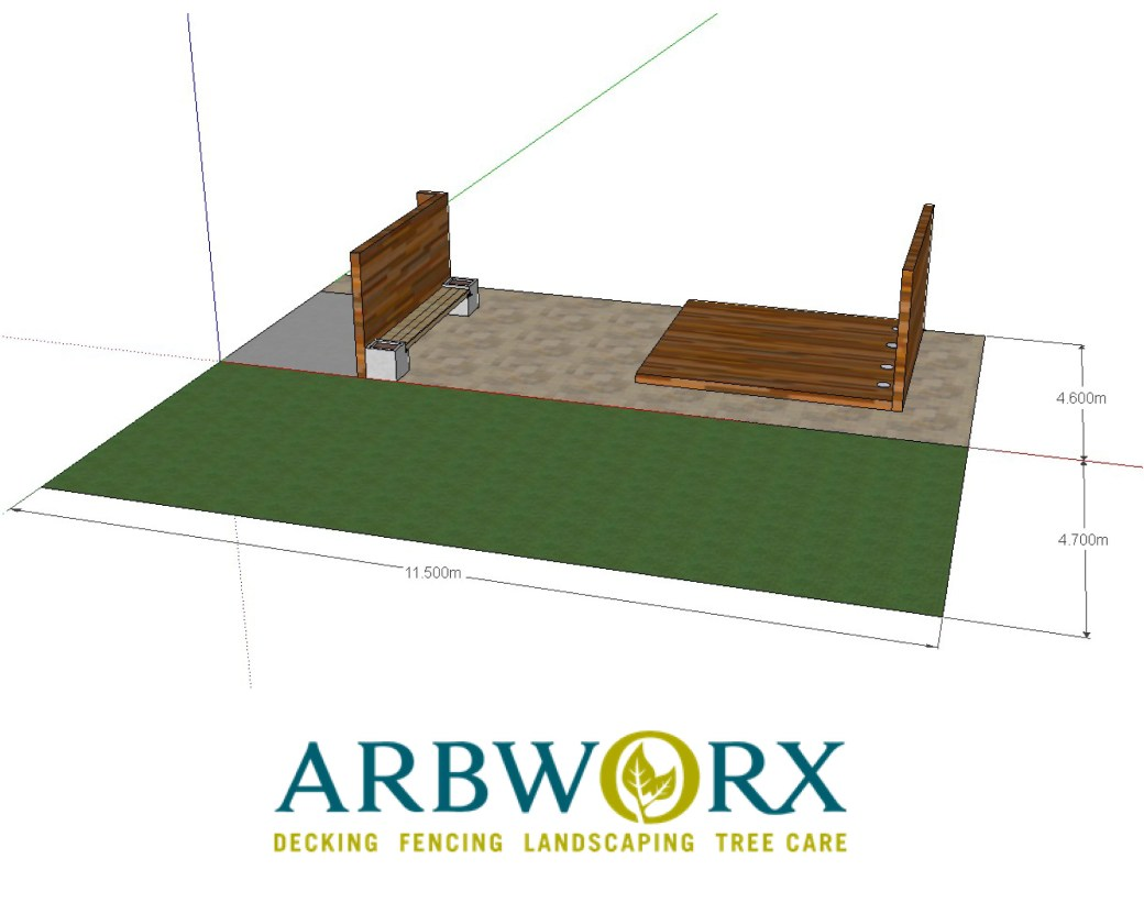 Garden makeover with paving, floating Ipe hardwood deck, vertical screen and planters design