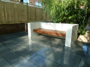 Our custom built rendered seat with Ipe decking. Really clean lines