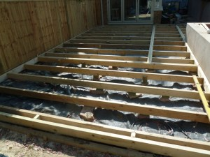 Joisting out the hardwood deck