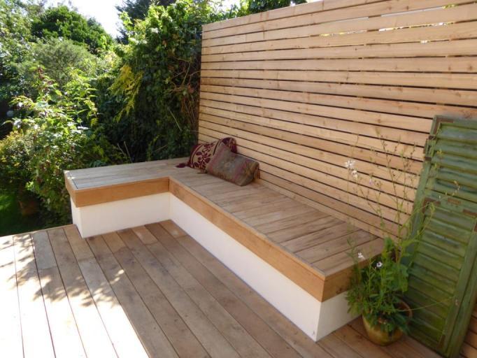 Siberian Larch screening with oak decking, Hove Brighton Sussex